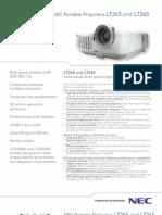 NEC LT265 Projector Spec Sheet