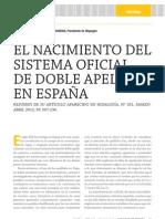 El sistema oficial de doble apellido en España