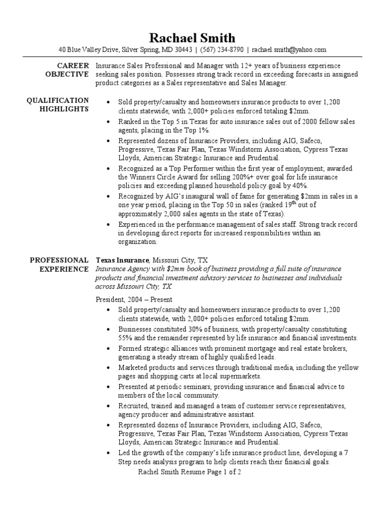 Perfect Insurance Resume Sample | American International Group | Prudential  Financial