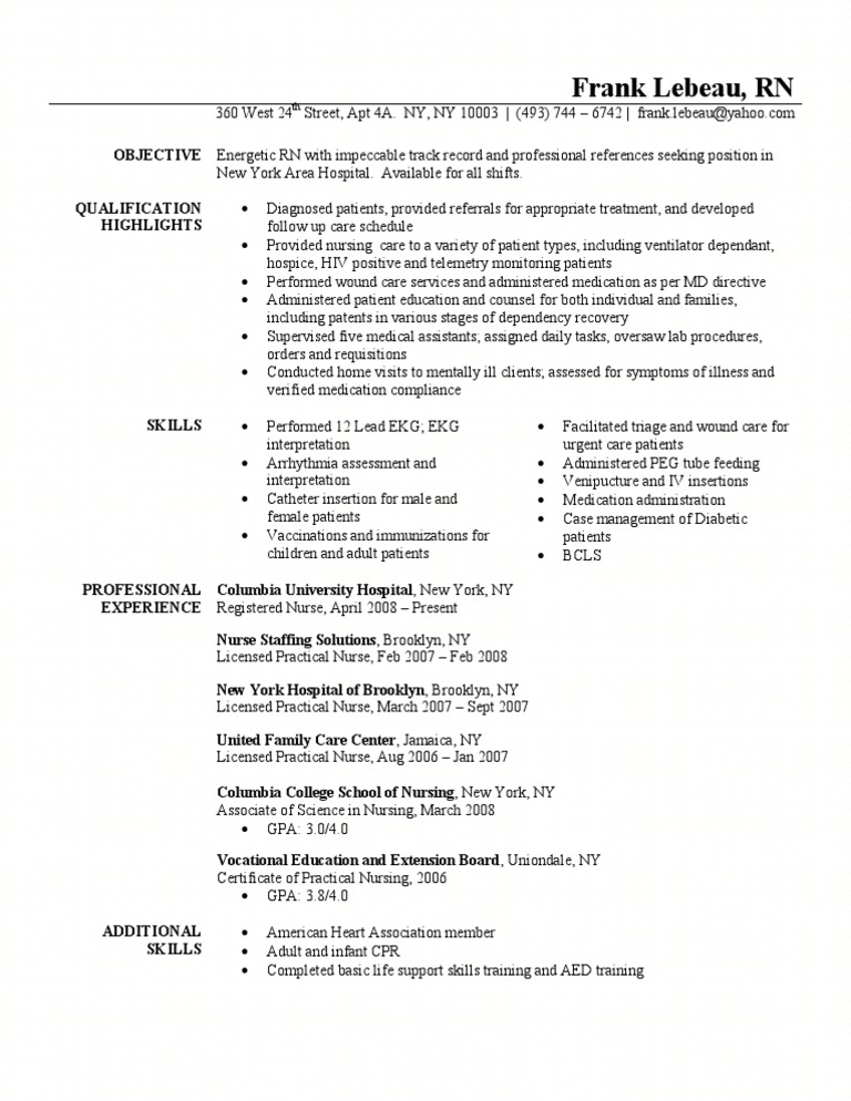 Registered Nurse Resume Sample Hospital Patient
