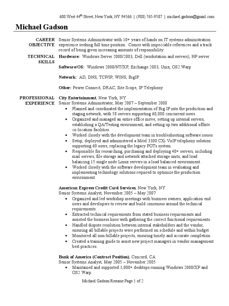 System Administrator Resume Sample | Windows 2000 | System Administrator