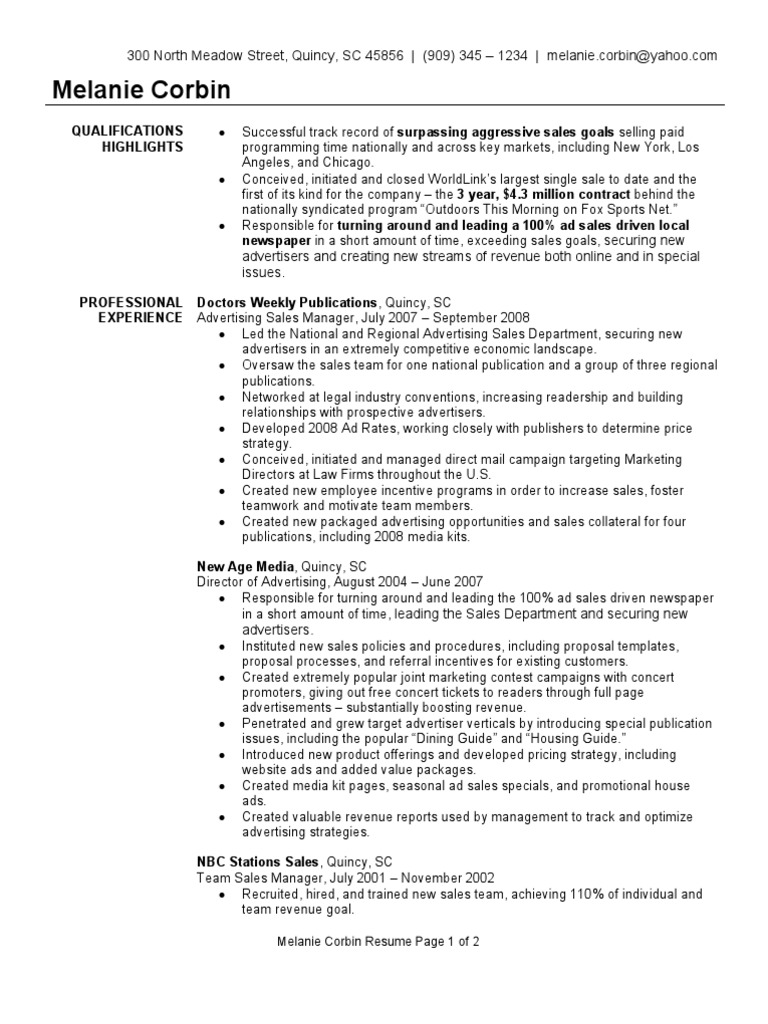 Advertising Sales Manager Resume Sample | Sales | Advertising