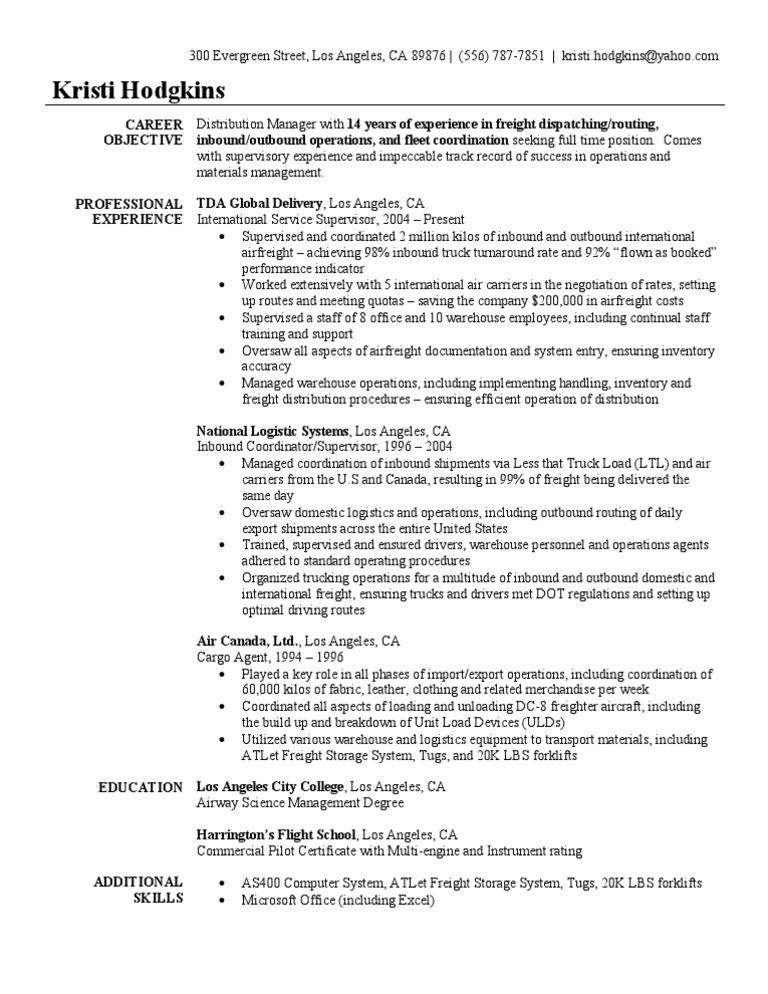 freight broker resume amitdhullco - Freight Broker Sample Resume