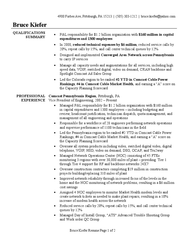 Vp Of Engineering Resume Sample Comcast Voice Over Ip