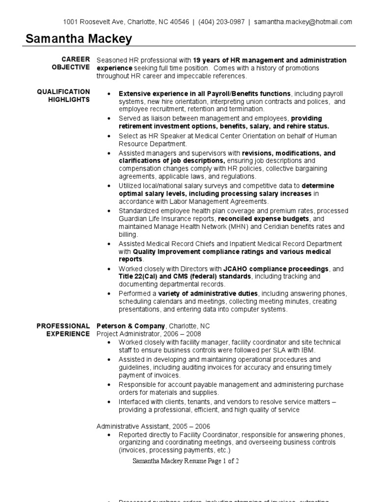 Pretty Resume Of Hr Administrative Assistant Contemporary ...