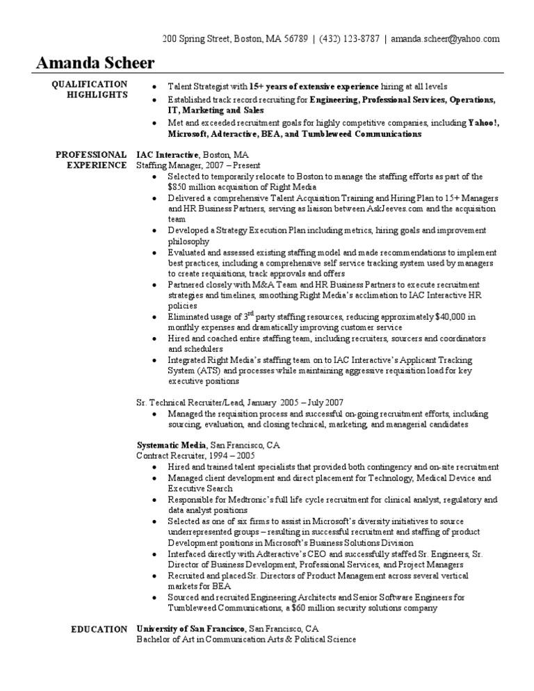 Staffing Recruiter Resume Sample | Recruitment | Technology