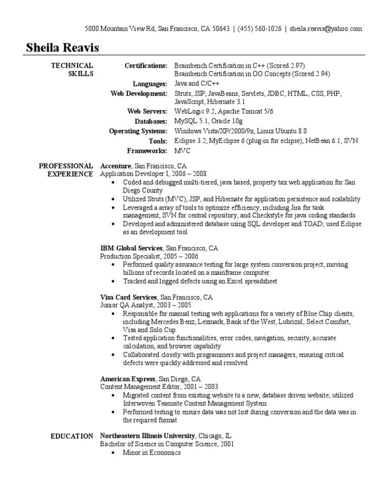application developer resume sample - Java Sample Resume