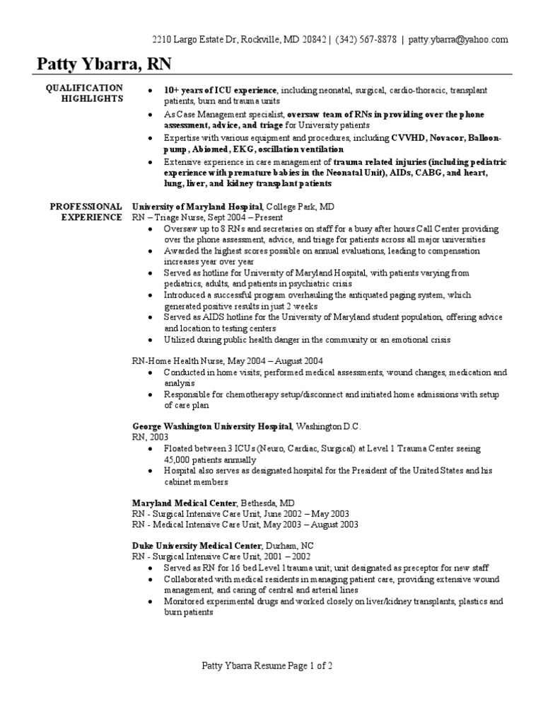 Registered Nurse Resume Sample | Intensive Care Unit