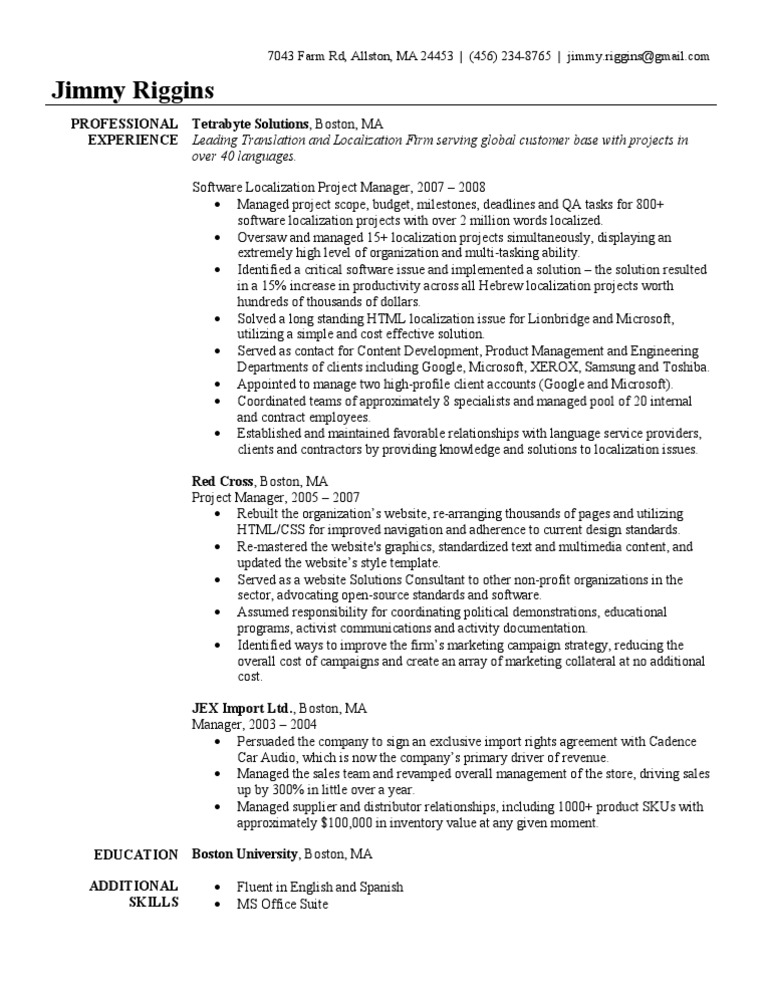 Project ...  Construction Project Manager Resume