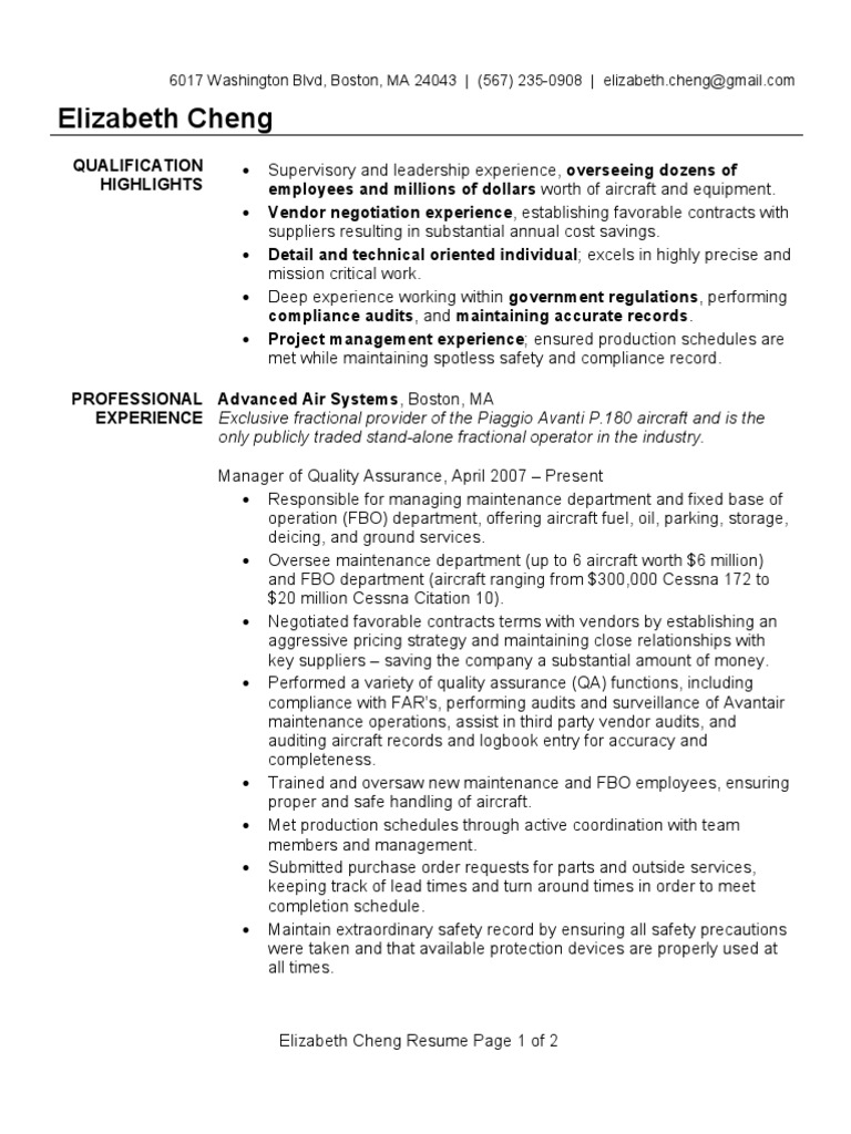 Quality Assurance Manager Resume Sample | Quality Assurance | Industries