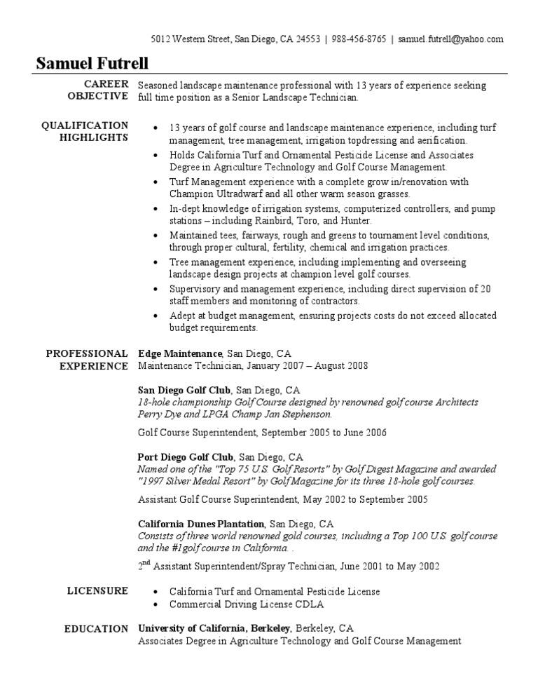 golf course superintendent resume sample