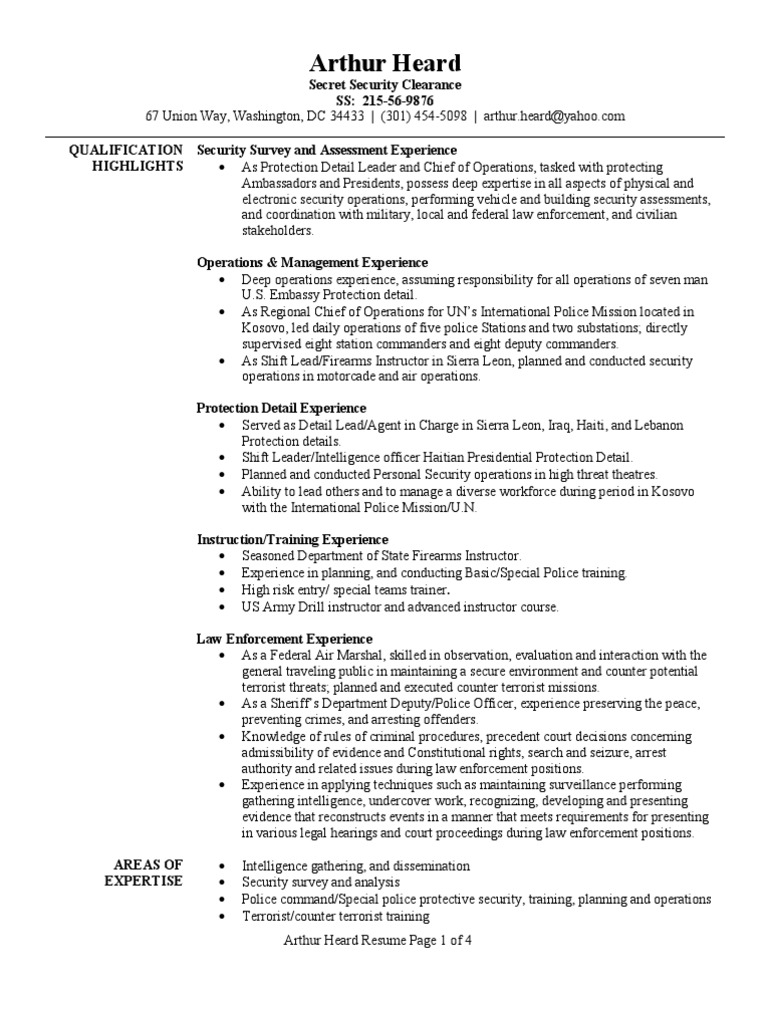 Personal Protection Detail Resume Sample | Infantry | Platoon