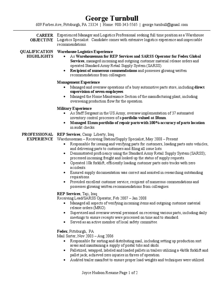 Warehouse Logistics Specialist Resume Sample | Logistics | Warehouse