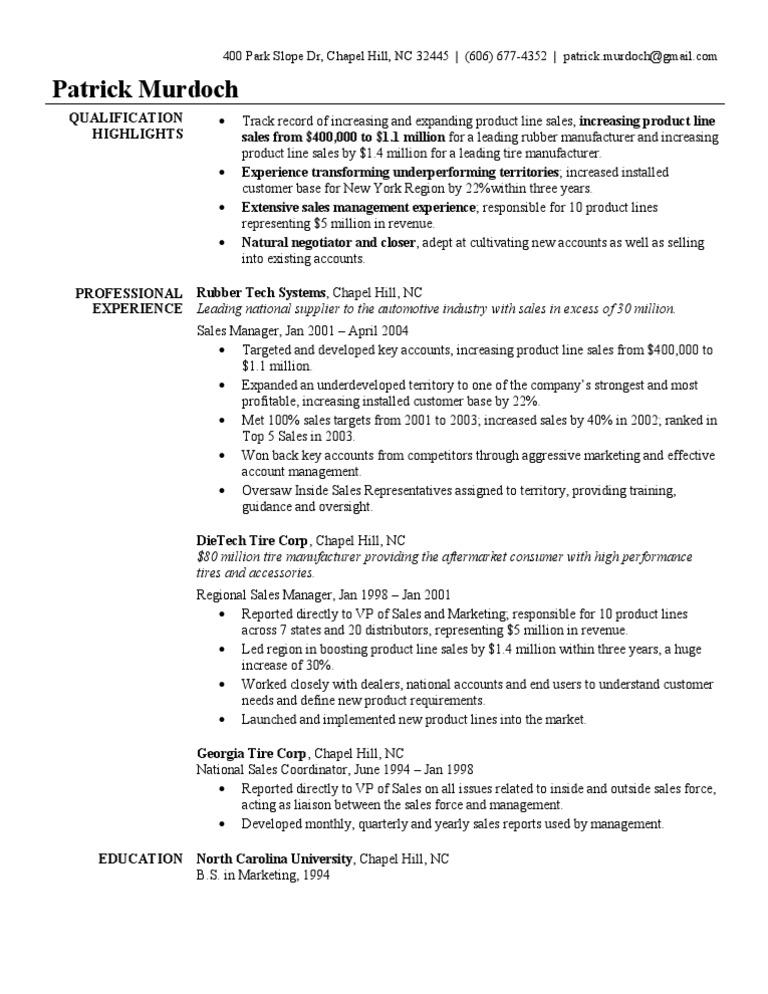 sales manager resume sample - Outside Sales Resume Sample