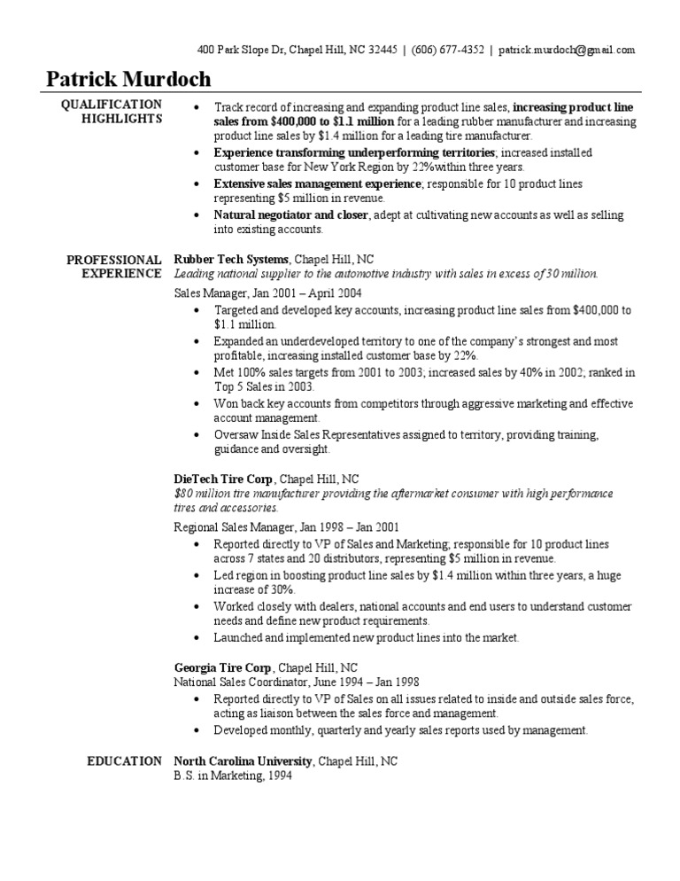 Sales Manager Resume Sample Sales Tire