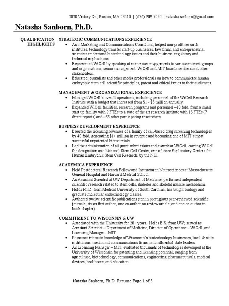 Business Development Executive Resume Sample Biotechnology Massachusetts Institute Of Technology