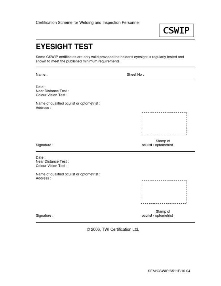 Cswip eye test form template