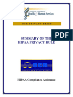 Summary of HIPPA Privacy Rule