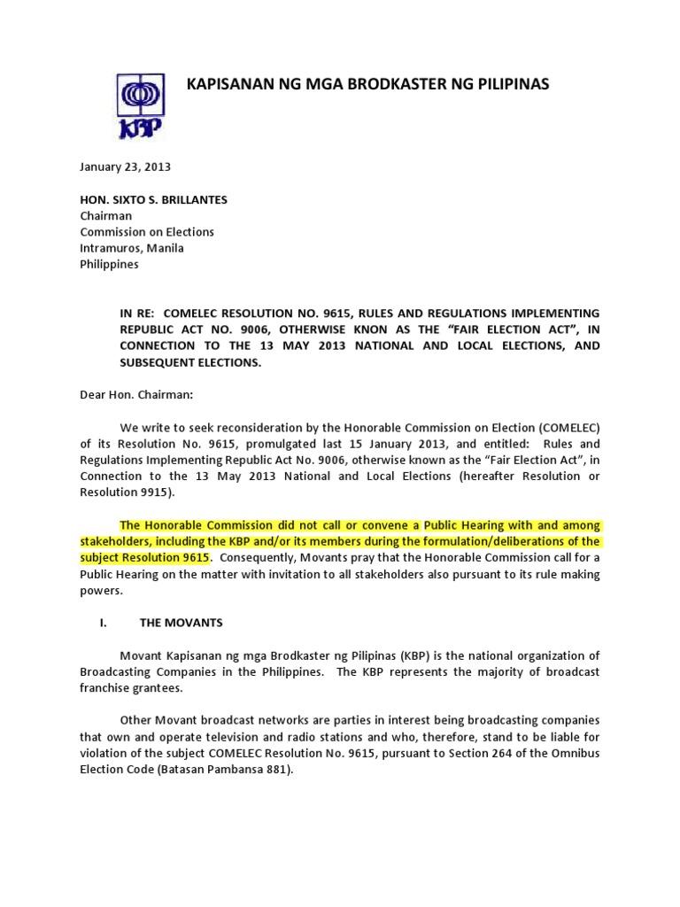 KBP COMELEC MOTION FOR RECONSIDERARIONpdf