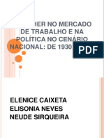 A MULHER NO MERCADO DE TRABALHO E NA POLÍTICA NO CENÁRIO NACIONAL DE 1930 À 2012