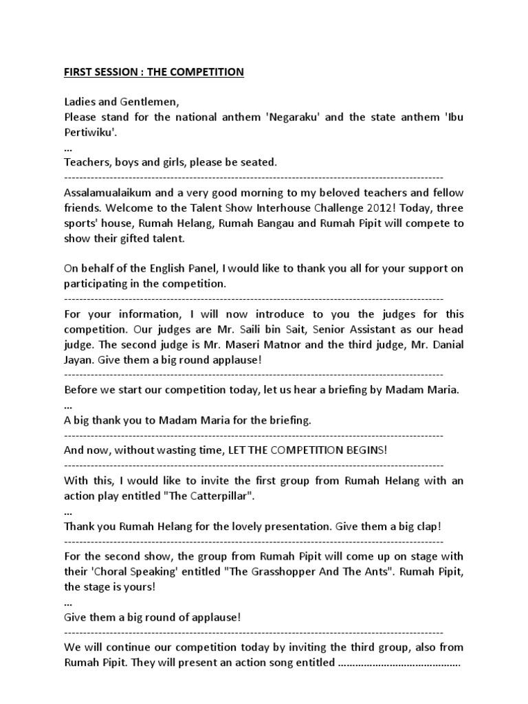 Teks Emcee English Month Closing Ceremony | Leisure