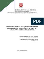 Propuesta Didactica Usando Liquenes Como Bioindicadores de Contaminacion Atmosferica