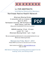 Call for Abstracts, Northeast Native Health Network