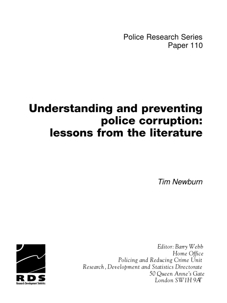 Understanding and preventing police corruption lessons from the ...