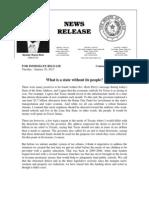 Senator West's News Release