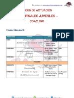 Orden actuación semifinal juveniles 1ª