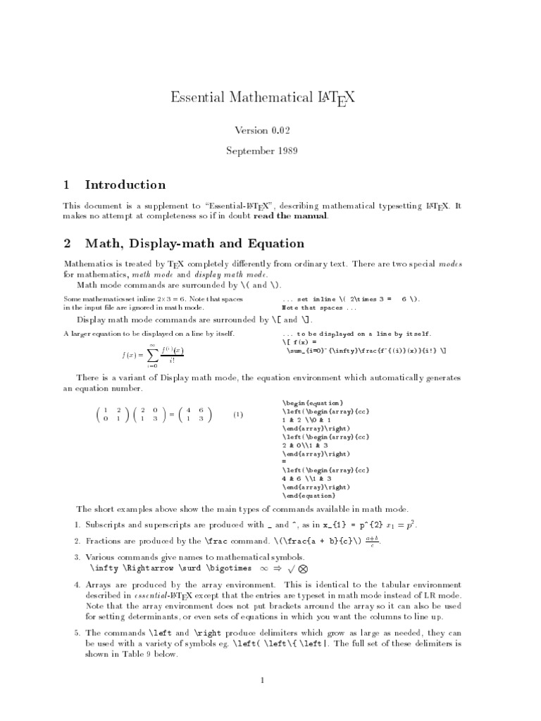 Essential Math Latex ps | Te X | Matrix (Mathematics)