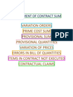 Adjustment to contract sum