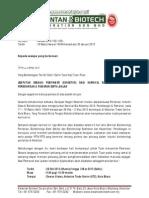 Surat jemputan menyertai Pameran, sempena Karnival Bio Technology 2013