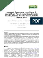 Efeitos no homem e ecossistema de alguns metais pesados