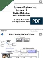 Radar Clutter Rejection Doppler Filtering