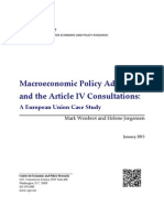 CEPR, Macroeconomic Policy Advice and the Article IV Consultations