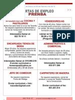Ofertas de Empleo 28 de Enero a 3 de Febrero de 2013