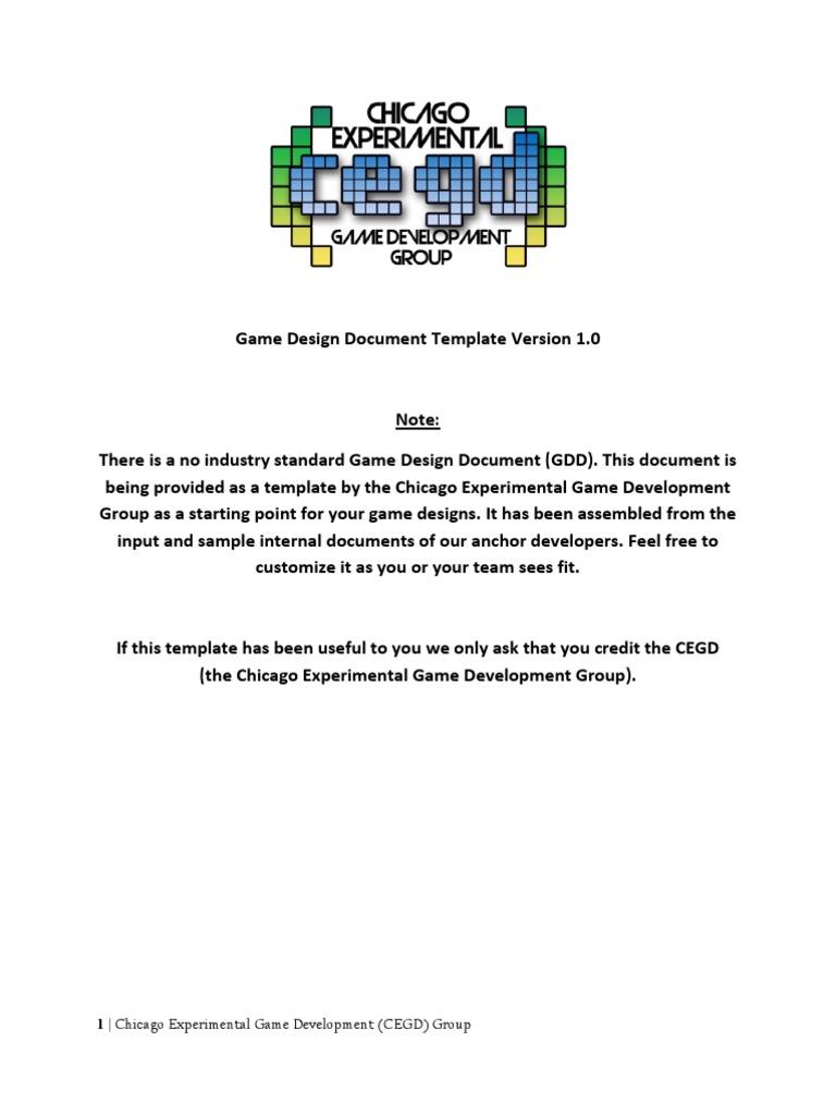 CEGD Game Design Document Template V Video Game Development - Game development document template