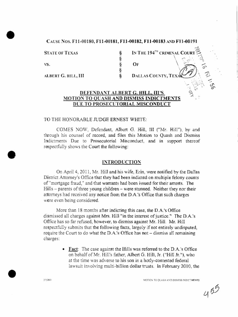 Motion to Quash and Dismiss Indictments Due to Prosecutorial