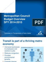 Metropolitan Council budget overview -- January 30, 2013