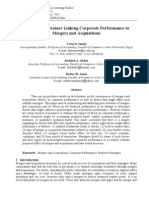 Tariq H Ismail et al., Review of literature linking corporate performance to mergers and acquisitions, Review of Financial and Accounting Studies Journal, Issue 1, 2011.