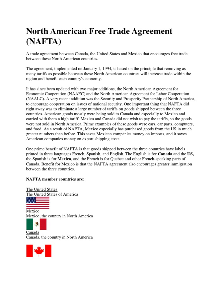 North American Free Trade Agreement Nafta North American Free