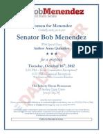 Women for Menendez Oct. 2012 event flyer