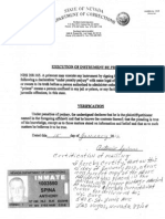 78. Letter, documents and Affidavit of Antonio Spina, imprisoned at Northern Nevada Correctional Center (NNCC)