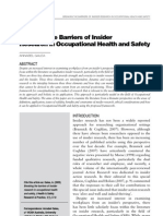 Galea Breaking the Barriers of Insider Research in Occupational Health and Safety