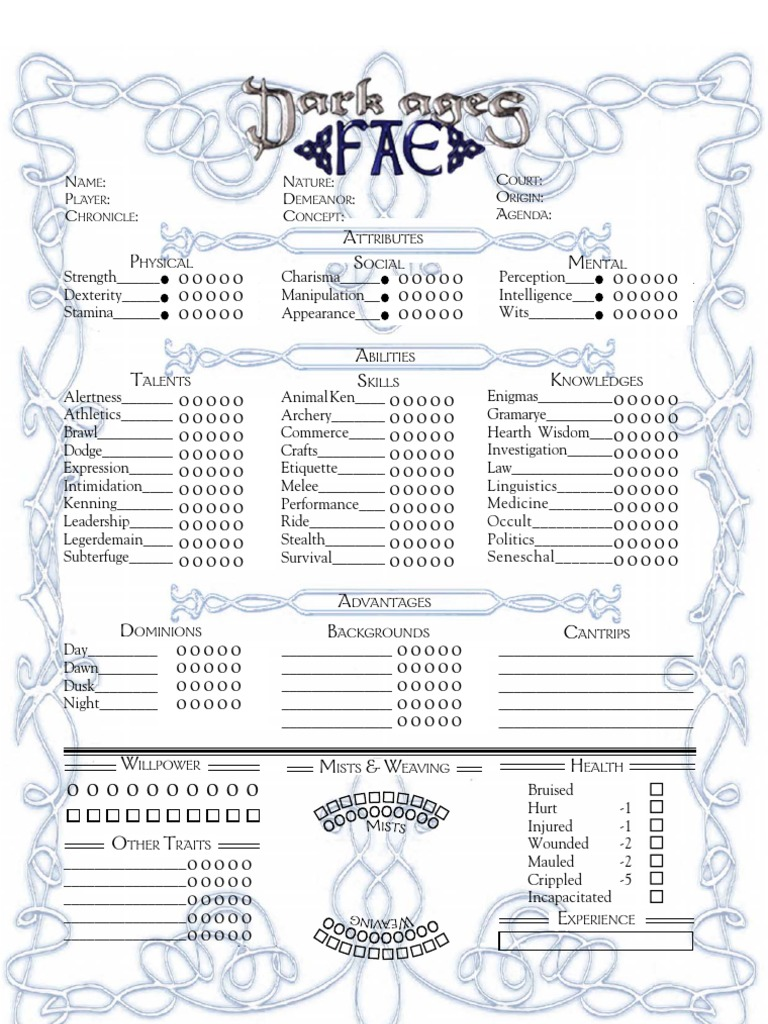 Dark Ages Fae Sheet Color | Fairies | Leisure