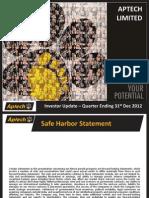 Analyst Presentation- Aptech Ltd Q3FY13