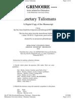 Planetary Talismans - Grimoire