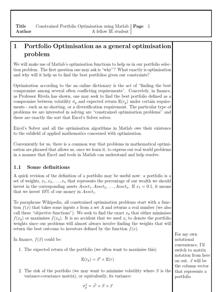 portfolio optimisation in matlab mathematical optimization