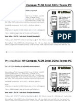 Hp 7100 Intel 3Ghz PC and Compaq TC4200 tablet PC for frugal enterprises - Singapore
